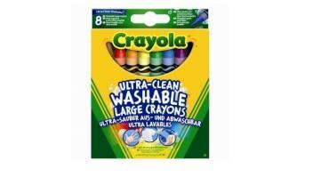 8 Large Washable Wax Crayons Box
